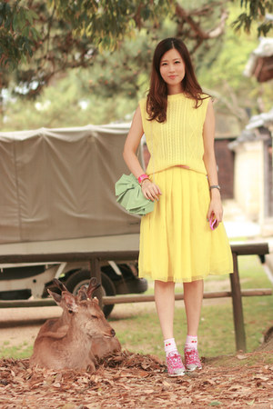 yellow romwe skirt - lime green RED valentino bag - light yellow Yesstyle top