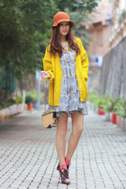 yellow H&M cardigan - heather gray gia london dress