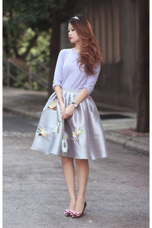 silver Choies skirt - light purple b  ab top - amethyst RED valentino heels