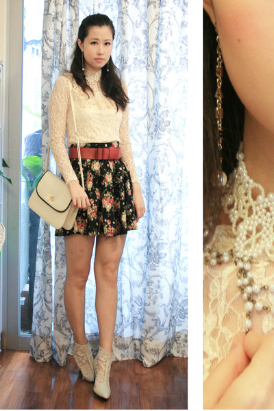 white pippee shoes - black mouth valley skirt - white Anna Rose blouse