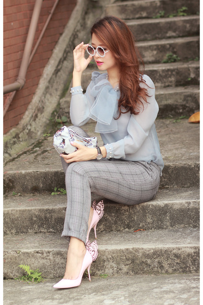 periwinkle romwe top - heather gray romwe pants