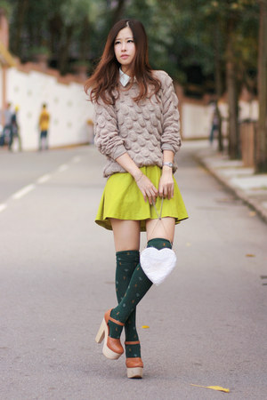 beige romwe sweater - lime green Yesstyle skirt