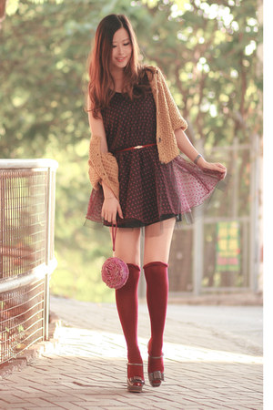 maroon Love dress - magenta Ipa Nima bag - gray Miu Miu heels