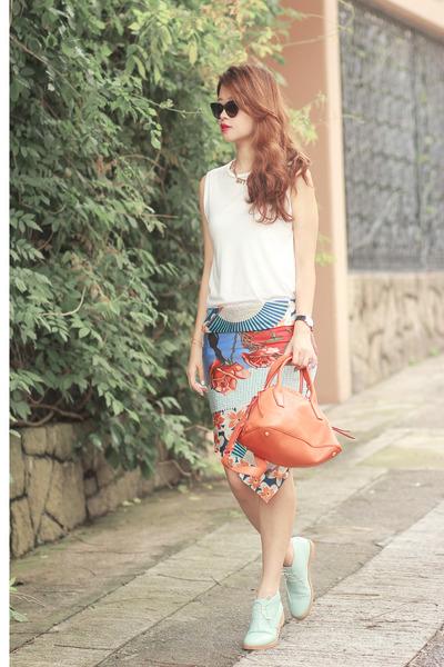 red cleo from initial scarf - light blue Choies boots - orange Miu Miu bag