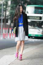 black Izzue blazer - bubble gum H&M socks - silver Sergio Rossi heels