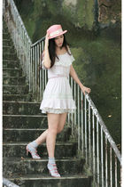 pink snidel dress - pink heather hat