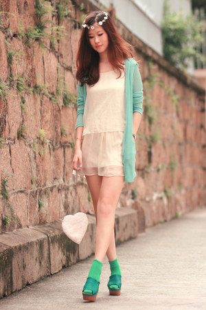 teal Joy & Peace wedges - aquamarine ianywear cardigan