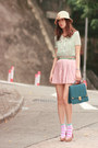 Sky-blue-h-m-socks-light-blue-asianicandy-blouse-light-pink-romwe-skirt-be
