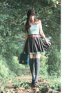 Brown-bcbg-hat-blue-miss-selfridge-dress-brown-pull-bear-skirt