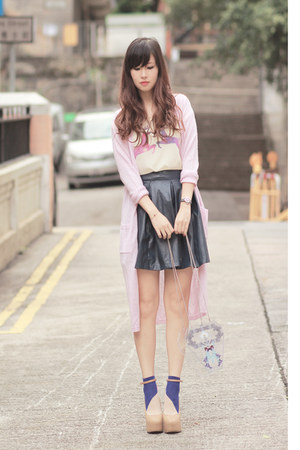 light pink Choies cardigan - violet Da-Sein socks - navy Chicwish skirt