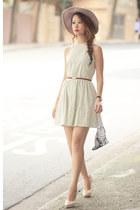 light blue Klarra dress - peach Charlotte Olympia heels