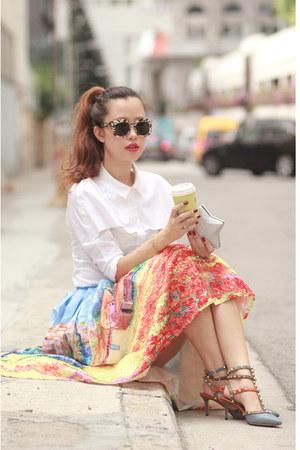 carrot orange Chicwish skirt - white Front Row Shop shirt - silver Choies bag