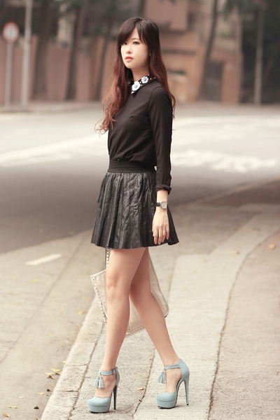 black Chicwish blouse - periwinkle sugarfree x mayo wo heels