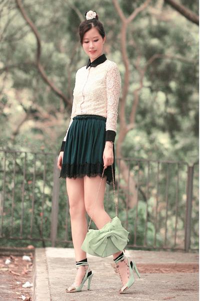 green Yesstyle skirt - ivory ianywear shirt - lime green YSL heels