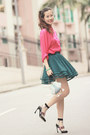 Hot-pink-romwe-shirt-teal-awwdore-skirt