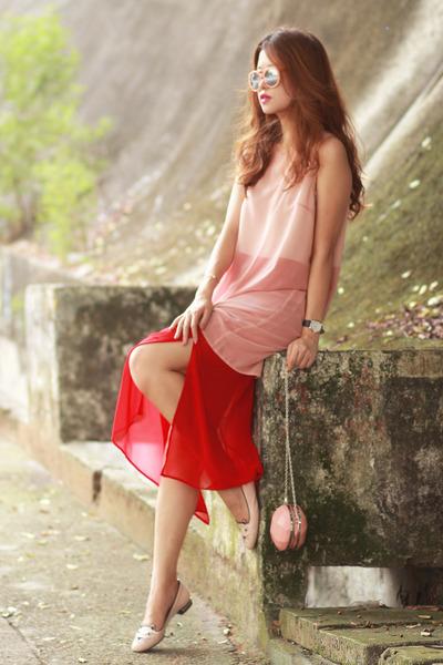 red Front Row Shop dress - bubble gum Choies bag