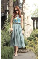 sky blue Stylenanda dress - lime green Celine bag - aquamarine romwe vest