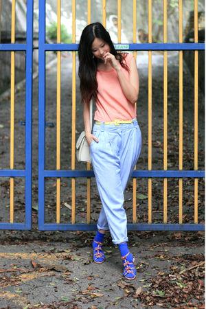 orange yull vest - blue naive overlap pants - pink vanity beauty shoes - yellow