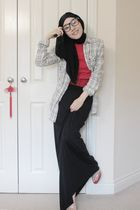 red retro miki house t-shirt - gray asos shirt - black maysaacom scarf