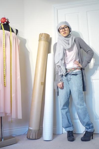 gray Zara cardigan - blue borrowed jeans - green Self Made shorts - white Uniqlo