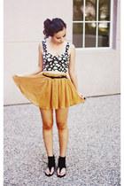 mustard Forever 21 skirt - black Forever 21 top