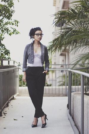 black Topshop pants - silver Urban Outfitters blazer - black Target pumps