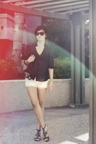 white DIY shorts - black Forever 21 top - black thrifted sandals