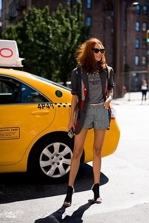 heels - jacket - shorts - t-shirt