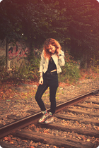 Zara blazer - Topshop t-shirt - Cheap Monday jeans - doc martens boots - Pinkup 