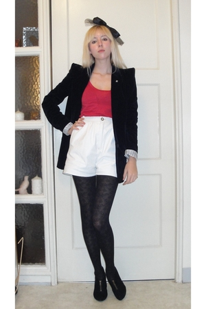black funktional blazer - red LnA top - white vintage shorts