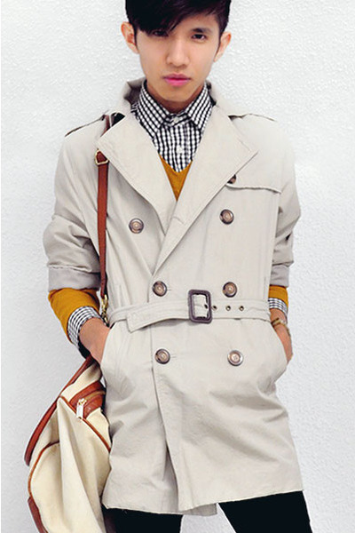 beige trench coat Zara coat - dark brown slip on Giogio Armani shoes