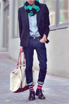green stripe scarf Zara scarf - black blazer - camel H&M bag