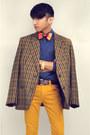 Mustard-zara-kids-jeans-dark-brown-vintage-blazer-navy-zara-shirt
