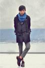 Sky-blue-jersey-scarf-zara-scarf-black-trench-coat-forever21-coat