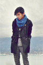 Black-trench-coat-forever21-coat-sky-blue-jersey-scarf-zara-scarf