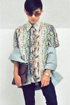 light blue jacket-shirt vintage jacket - aquamarine vintage shirt