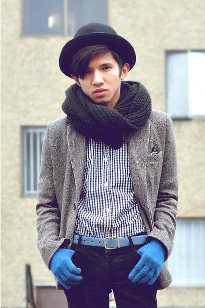 black knit OAK  FORT scarf - gray tweed blazer Zara blazer