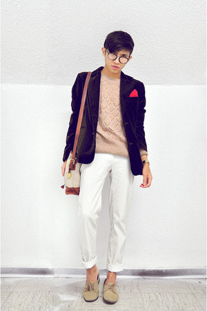 crimson Zara blazer - tan nude oxford Zara shoes - peach gifted sweater