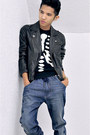 Black-zara-boots-navy-diesel-jeans-black-h-m-jacket-dark-gray-h-m-sweater