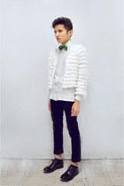 green velvet bow tie Zara tie - black Paul Smith shoes