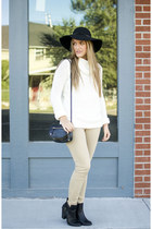 beige neutral old pants - black ankle boots Forever 21 boots
