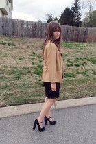 camel vintage blazer - black Trixxi skirt - white Wet Seal t-shirt - black miu m