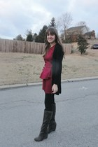 gray elle boots - red peplum vintage from Ebay dress