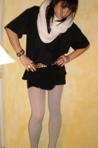 scarf - t-shirt - American Apparel shirt - Target tights - belt - Manolo Blahnik