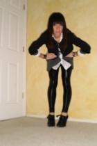 banana republic blazer - f21 sweater - Gap blouse - Members Only leggings - stua