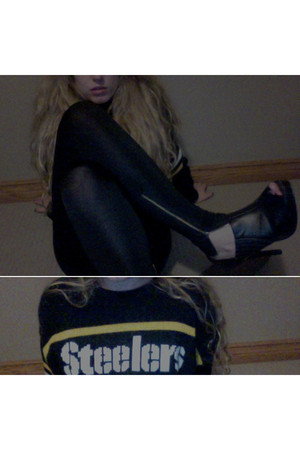 black Costa Blanca leggings - black Steelers sweater - black le chateau shoes -
