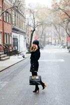 navy Club Monaco skirt - crimson Joie boots - black Sophie Hulme bag