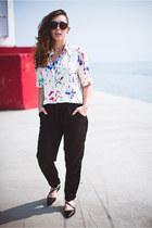 ivory printed Zara shirt - black silk jogger Joe Fresh pants