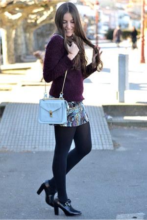 H&M sweater - Zara bag - Sheinside skirt - Marypaz heels