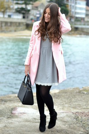 Choies coat - Zara boots - Lucloset dress - Michael Kors bag